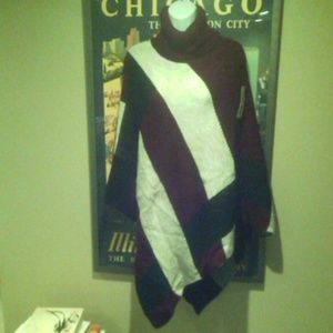 NWT knit stripe pullover poncho cape NEW